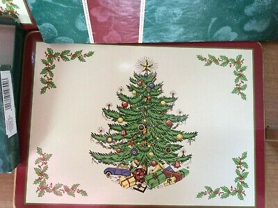 Cloverleaf Christmas Tree ( Spode Type ) 6 Table Mats With 6 Coasters Boxed • 9£