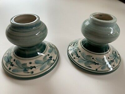 Jersey Pottery Hand Painted Green Candle Holders - Matching Pair • 1.99£