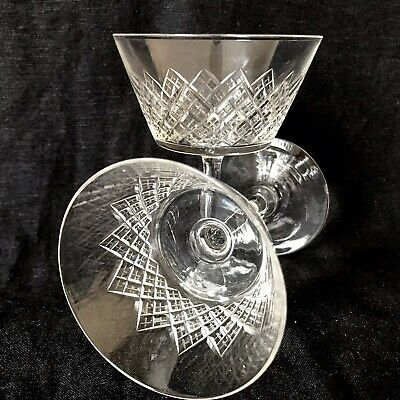 EXQUISITE PAIR Of EDWARDIAN CUT GLASS CHAMPAGNE SAUCERS/COUPES Vintage C1910 • 45£