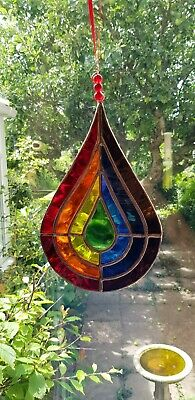 Stained Glass Rainbow Raindrop Suncatcher. • 25£
