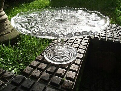 Davidson ? Glass Cake Plate / Cup Cake Plate - Vintage • 12.50£