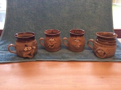 4 X COLLECTABLE PRETTY UGLY POTTERY MUGS - MADE IN WALES • 4£