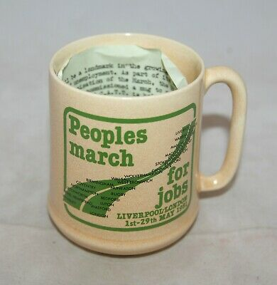 Vintage Sylvac Pottery 4344 'People's March For Jobs' 1981 Mug • 14.99£