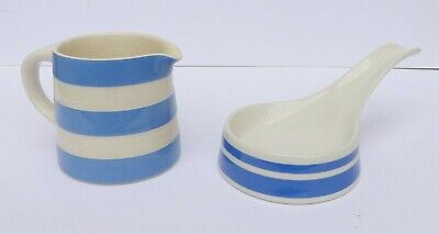 Vintage Blue & White Cornishware Small Jug & Spoon Rest By TG Green - VGC • 15.49£