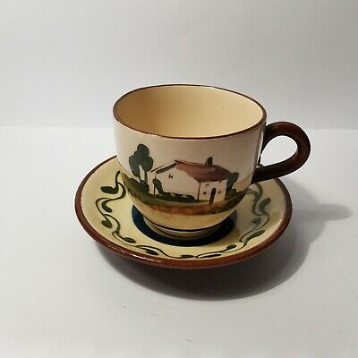 MOTTO WARE : Good Courage Breaks Ill Luck : Tea Cup & Saucer Watcombe Pottery • 4.99£