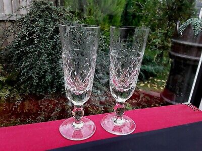 2 Fabulous Royal Brierley Tall Elegant Glasses Bruce Cut White Wine Prosecco • 14.75£