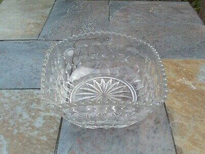 Vintage Clear Glass Bowl - Unusual Square Shape • 9.99£