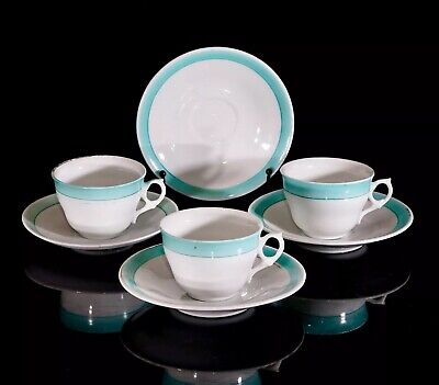 Lovely Victorian Child/ Doll Cups & Saucers X3, Turquoise Border, Petal Handle • 5£