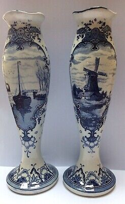 Antique Blue White Dutch Delft Pottery Windmill Ship Decorated Vases • 59.99£