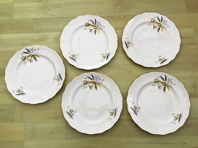 5 Vintage Bone China Colclough Stardust Side Plates. Yellow & Grey Design  • 12£