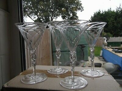 4 Very Rare James Powell & Sons / Whitefriars Wrythen Glasses With Twist Stem • 40£