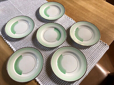 Shelley Art Deco Green Bands And Silver Lustre Rim Plates X 6 • 19.99£