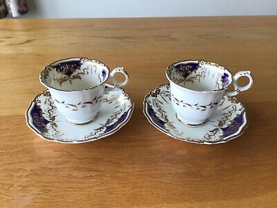 Two Antique / Vintage China Cups & Saucers Bird Of Paradise Cobalt Blue Gold • 7.99£
