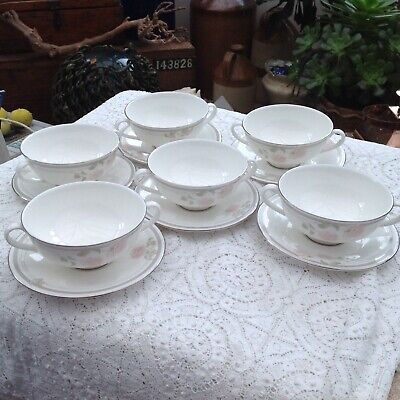 Royal Doulton 6 Twilight Rose Twin Handled Soup Coupes And Saucers • 20£