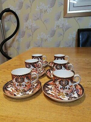 6 X Royal Crown Derby Imari Kings Pattern Coffee Cans And Saucers: 383 • 95£