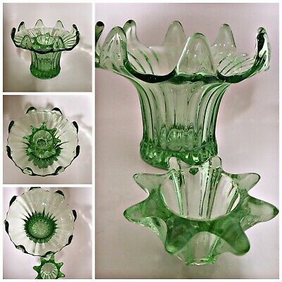 Vintage Green Glass Vase Art Deco 'Lily' Posy Plus Frog Sowerby Stunning • 19.99£