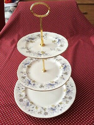 Colclough Rhapsody In Blue 3 Tier Cake Stand Shabby Chic  • 8£