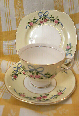 Rare Vintage Colclough China Tea Cup, Saucer, Plate  Trio Swags Ribbons & Roses • 17.50£