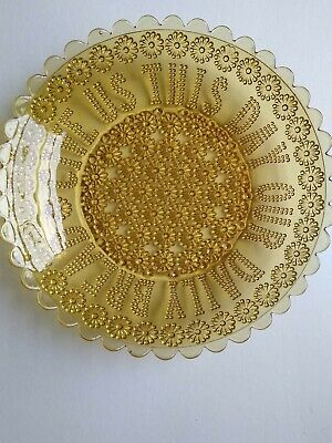 Vintage Amber Pressed Glass Serving Plate 10 Inches D • 6.99£
