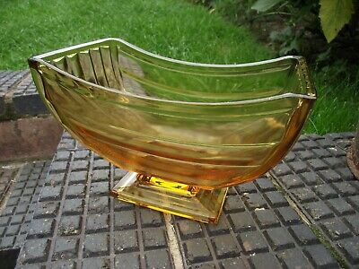 Sowerby Amber Glass Fruit Bowl / Vase 2617 - Art Deco Iconic Piece - Excellent • 25£