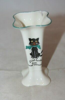 Vintage Arcadian China Crested Lucky Black Cat Vase From 'Great Yarmouth' - A/f • 0.99£