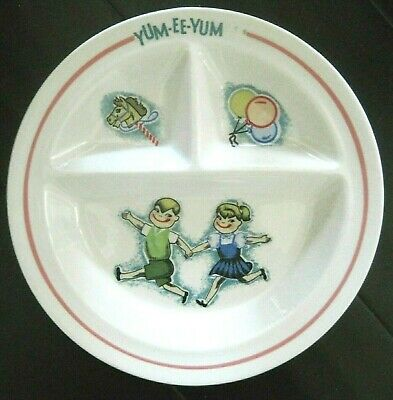 Vintage 1960s YUM-EE-YUM Kitsch Japan Divided Child's PLATE Hobby Horse Boy Girl • 15.30£