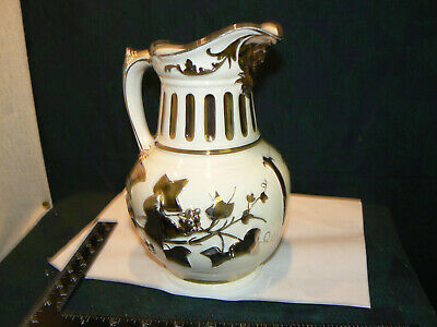 Stunning  Silver Luster Grays Pottery Jug With Baccus Mask Art Deco • 9.99£