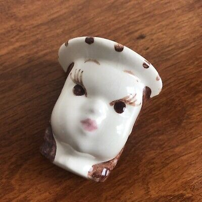 Vintage Young Lady Woman Head Vase Wall Pocket Ceramic Hand Painted • 17.63£