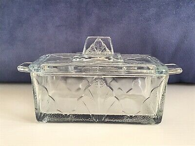 Vintage Retro Pressed Glass Lidded Butter Dish Art Deco Style • 14.99£