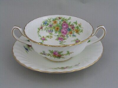 Minton Lorraine Two Handled Soup Coupe And Saucer. • 14.99£