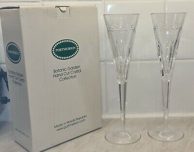 Botanic Garden Hand Cut Portmeirion Crystal Champagne Flutes New See Pics + Info • 17£