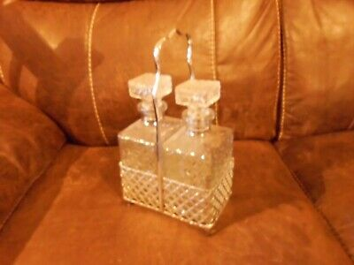 Pair Of Cut Glass Decanters In A Chrome Holder • 12£