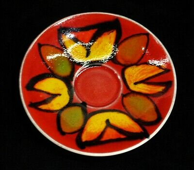 Poole Pottery Saucer Red Orange And Green Flower Design. • 14.99£