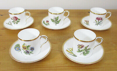 5 X C.1959 Royal Worcester Coffee Cans And Saucers - Various Handpainted Flowers • 18£
