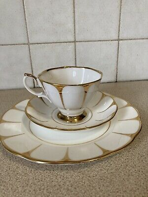 Vtg Royal Vale English Bone China White Gold Deco Daisy Strike Tea Set 6 X Trios • 35£