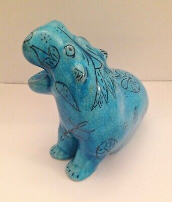 Turquoise Hippopotamus Decorated With Egyptian  Imagery • 32£