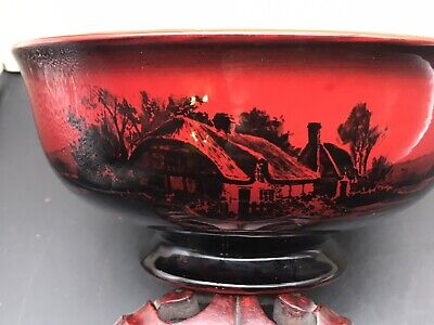 Royal Doulton Thatched Cottage-flambe Ox-blood Red Country Landscape Large  Bow • 99.99£