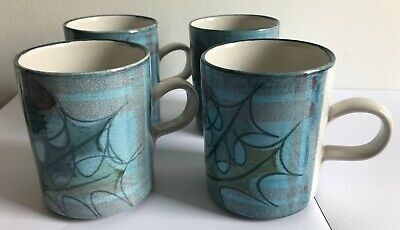 4 X Scottish Tain Pottery Mugs Thistle Design Unused With Original Packaging • 55£