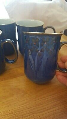 4 Denby Blue Mugs With Flower Detail • 16£