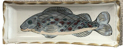HIGHLAND STONEWARE OBLONG FISH DISH Or WALL HANGING PLAQUE HAND PAINTED • 65£