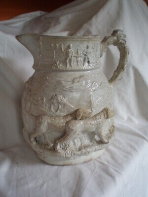 Good Large Antique Early 19th C Mason's Ironstone Relief Moulded Jug W/dogs • 60£