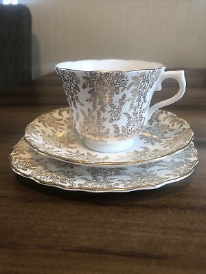 Vintage Royal Vale Bone China Tea Set Cup Saucer Plate Gold & White (1955-1964) • 2.99£