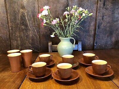 Vintage Watcombe Torquay Pottery Beakers, Cups And Saucers - Brown Glaze • 25£
