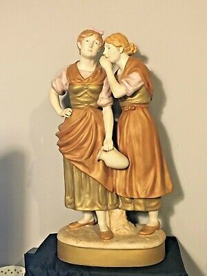 Royal Dux Large Figurine Antique 2 Women 20  Tall Pink Triangle As-Is • 71.46£