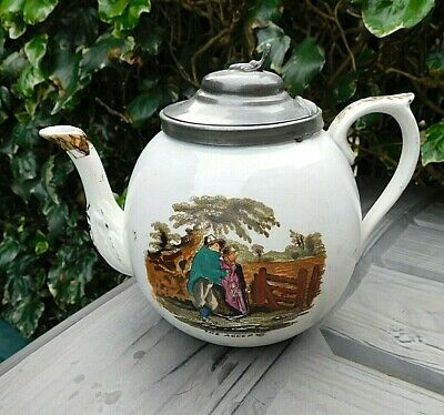 Victorian Unmarked Earthenware TEAPOT 'Rected Accepted' Pewter Lidded Tea Pot • 14.95£