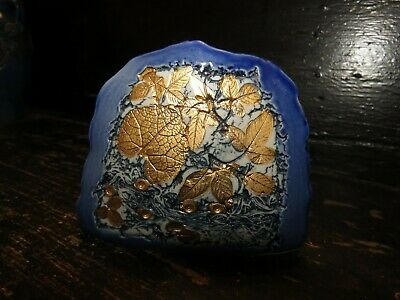 Small Tenmoku Pottery Vase Blue And Gold • 8£