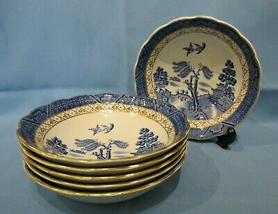 Vintage Booths Real Old Willow Brown Trellis 16cm Diameter Bowl X6 Pattern A8025 • 18£
