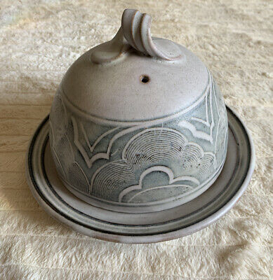 Vintage Cheese Dish Pottery Arts & Crafts Style Handmade • 25£