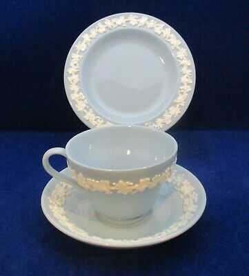 Vintage Wedgwood Embossed Queensware Trio Cup Saucer Side Plate White On Blue • 18£