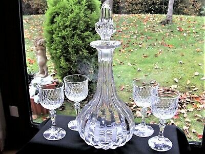 Heavy Tall Deep Cut Crystal Decanter & 4 Glasses • 12£